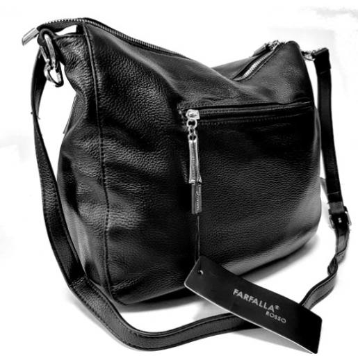 Женская кожаная сумка через плечо черная FR455N