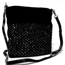 Женская замшевая сумка со стразами черная Polina & Eiterou BE460N