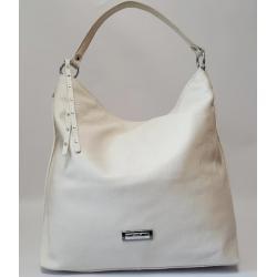Женская кожаная сумка на плечо бежевая 489N
