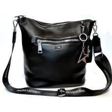 Женская сумка кожаная на плечо черная Polina & Eiterou PE454N