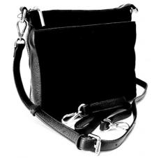 Женская сумка-мессенджер из замши и кожи черная 457N