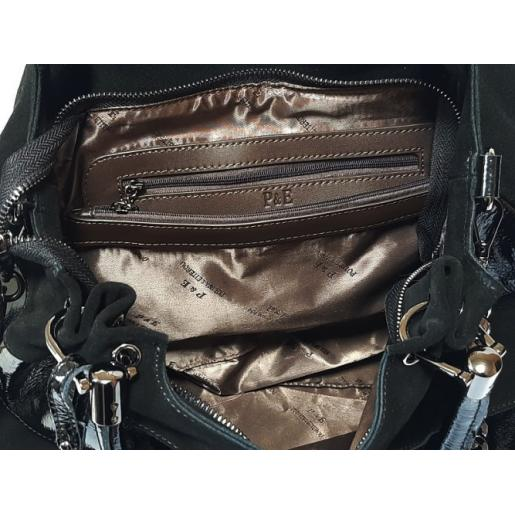 Женская сумка из замши и кожи черная Q79N-30