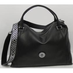 Женская кожаная сумка черная Q189N