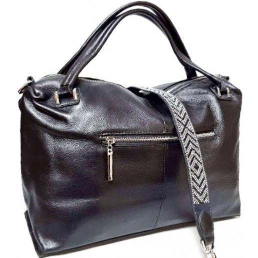 Женская кожаная сумка Polina & Eiterou Q190N Графитовый
