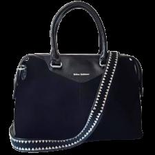 Женская кожаная сумка черная из замши 130N