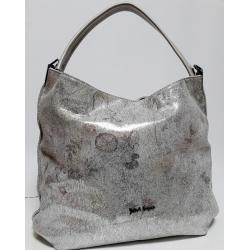 Женская кожаная сумка серебристая Bella Q709N