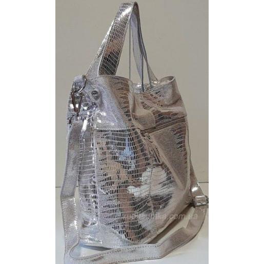 Модная сумка кожаная женская 20N Серебристый