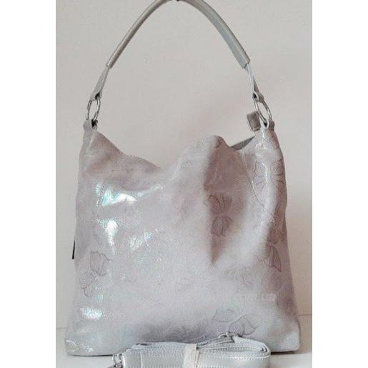 Женская кожаная сумочка 202Н Серебристый