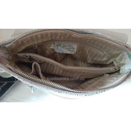 Женская сумка из лазерной натуральной кожи с цветочным принтом