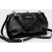 Женская сумка на плечо кожаная черная 627N-1