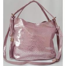 Женская кожаная сумка розовая Q210-1N