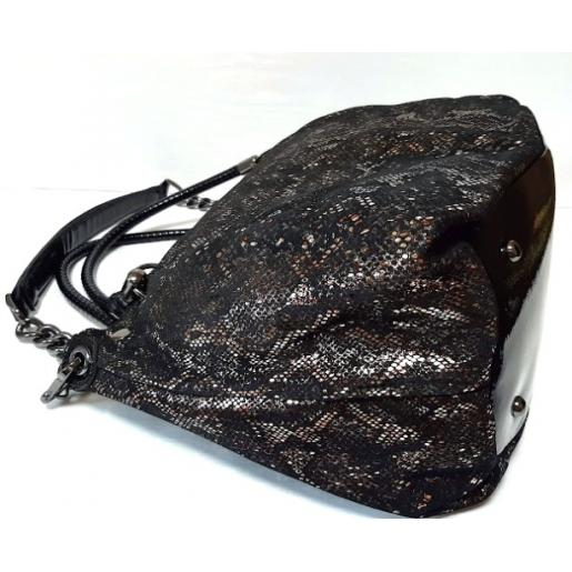Женская кожаная сумка замшевая черная Q500N