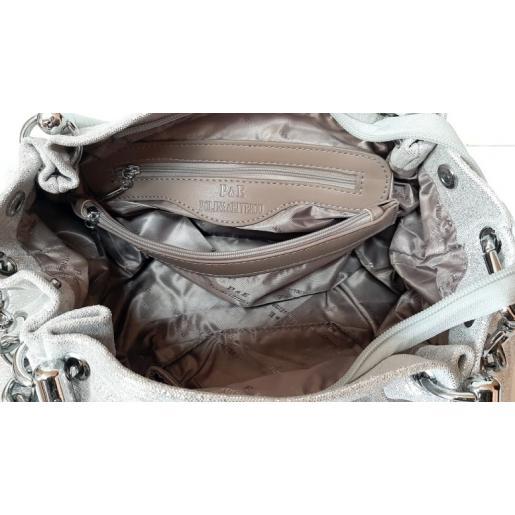 Женская кожаная сумка Polina & Eiterou 131N-1 Серебристый