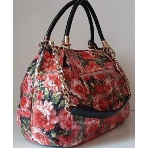 Эффектная женская сумка из кожзаменителя розового цвета