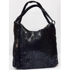 Женская кожаная сумка на два отделения 166N Черный