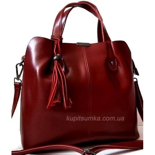 Женская сумка из натуральной кожи красная