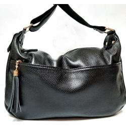 Женская сумка Hobo из натуральной кожи черная K11D95-2
