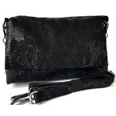 Кожаная женская сумка-клатч 301N Черный