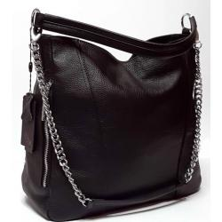 Кожаная женская сумка черная Polina&Eiterou BO402N