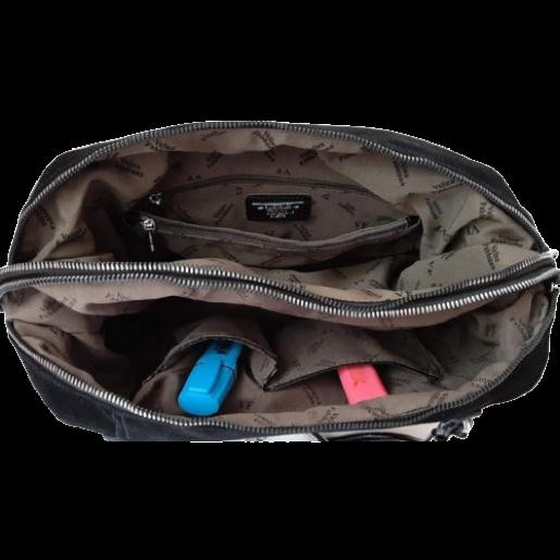 Женская сумка из замши два отделения VF173N black
