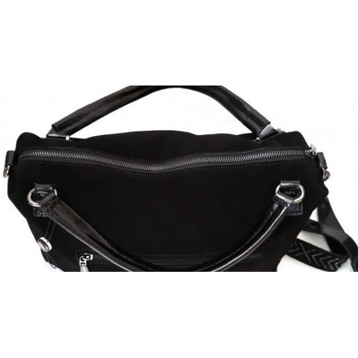 Женская сумка черная из натуральной замши VF175N