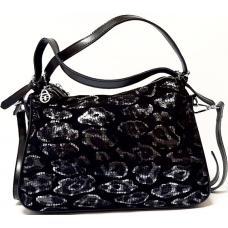 Женская кожаная сумка из замши черная FR409N