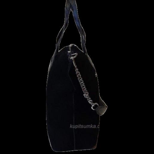 Женская сумка из натуральной черной замши Q18N
