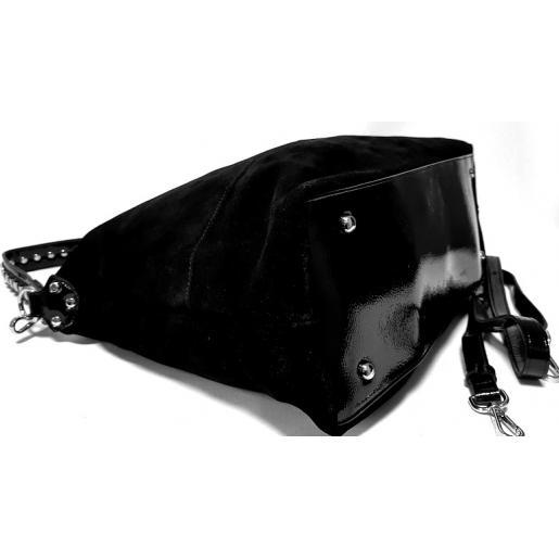 Женская сумка из замши шоппер черная Q820N-45