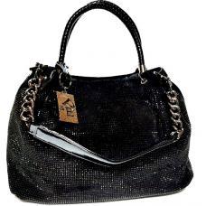 Женская замшевая сумка со стразами черная FR410N