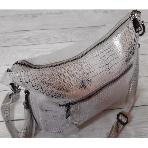 Женская кожаная сумочка серебристая 81U16-1