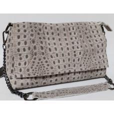 Кожаная женская сумка под кожу страуса 85N9 Бежевый