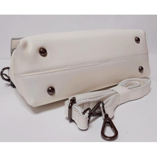 Женская кожаная сумка белый перламутр 85N6-1