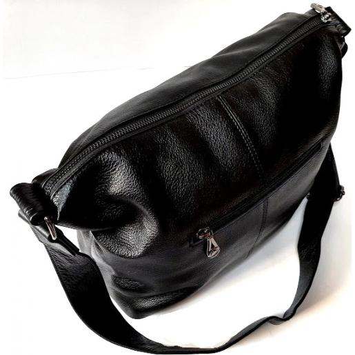 Сумка хобо женская кожаная черная 311N
