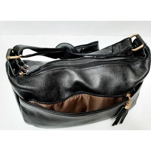 Женская сумка Hobo из натуральной кожи K11D95-2 Черный