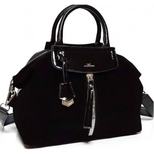 Женская сумка из замши и кожзаменителя Polina & Eiterou 161N Черный