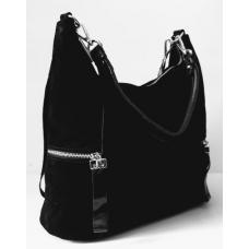Женская сумка замшевая на плечо черная Q575-79N-8