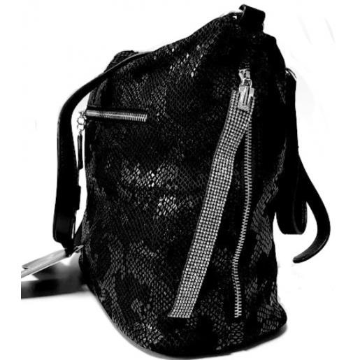Сумка замшевая женская на плечо черная FR 304N