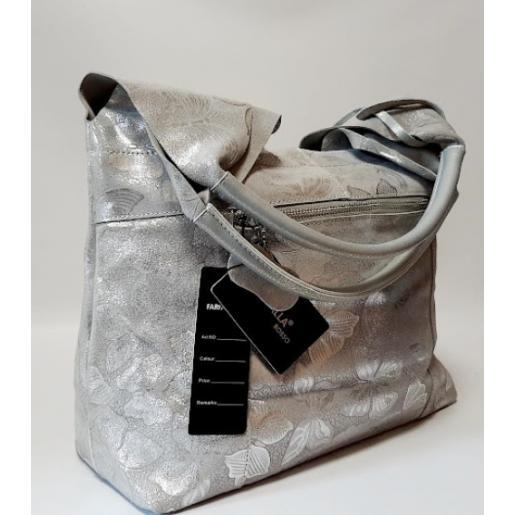 Женская кожаная сумка серебристая FR01N