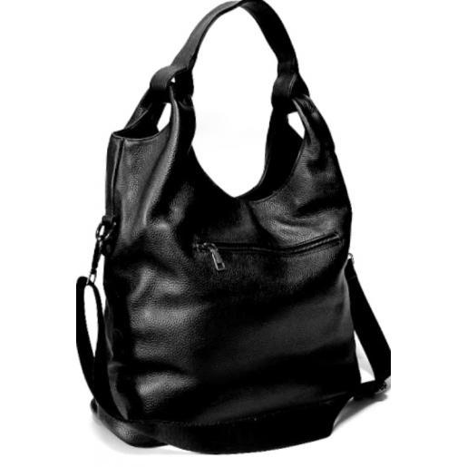 Женская кожаная сумка черная шоппер 401N