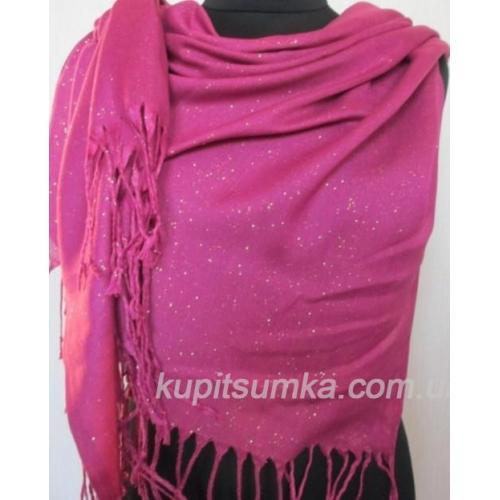Женский розовый палантин с люрексом 21Т