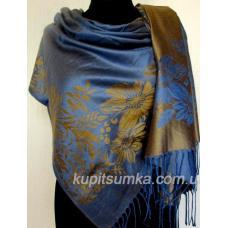 Двухсторонняя женская шаль с набивным рисунком Золотисто - синий
