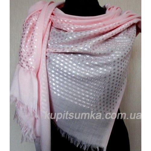Женская шаль из кашемира и вискозы розовогоо цвета