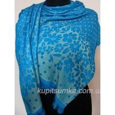 Женский палантин из вискозы голубого цвета
