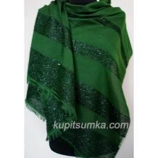 Женский палантин из вискозы и хлопка зелёного цвета