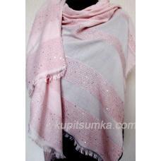 Женский палантин из вискозы и хлопка светло - розового цвета