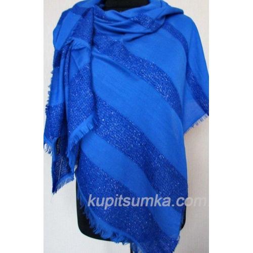 Женский палантин из вискозы и хлопка синего цвета