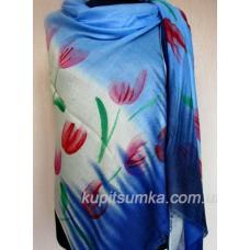 Женский палантин с рисунком тюльпанов Синий микс