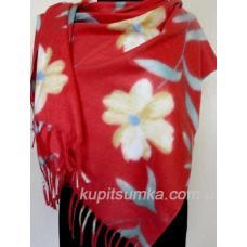 Красный кашемировый палантин с цветком