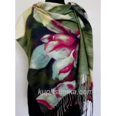 Модная шаль из мягкой пашмины с цветочным мотивом Зелёная