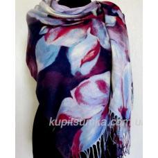 Модная шаль из мягкой пашмины с цветочным мотивом Сине-сиреневая